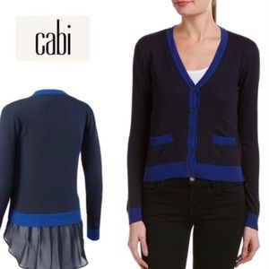 CAbi Navy Blue Layered Michelle Cardigan